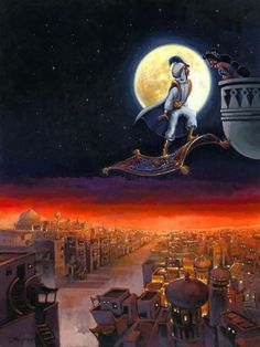 Rodel Gonzalez A Visit from Prince Ali From Aladdin Original Acrylic on Canvas Original Art Disney Fine Art