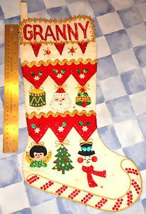 Vintage Christmas Stocking * Granny * Santa, Angel, Snowman * Sequins, Beads