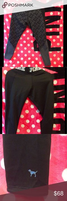 PINK VS Reversible leggings!💕 PINK VS reversible leggings! One side has a grey pattern and the other is black with PINK written in white on waistband and a shiny PINK dog on the ankle. These retail for $70 and I only wore them once so please no lowball offers 🙂 PINK Victoria's Secret Pants Leggings