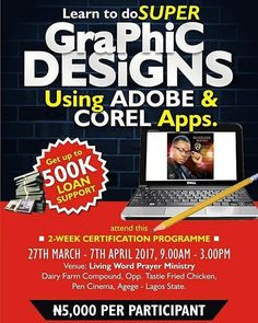 5 days to go... Do you need up to N500000 Loan and you are a JSS/SSS Student Business Centre Owner/Manager/Staff Production Agency School Cert Holder Employed/Unemployed or a Youth Corper etc. that is interested in self development and increase in selfworth or rather you need another stream of income? Then you need to be part of this training programme where you will learn Graphic Design Shoe and Bag Making and Website Design in just 2weeks. Register Now at http://ift.tt/2lfnd1t HOTLINE…