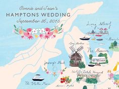 September 2015 Blog Post. Connie and Sean's Hamptons wedding offered so many sights they asked us to design a custom wedding map to hand to their guests on arrival. Illustrated by Mia Dunton for Jolly Edition.