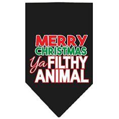 Mirage Pet Products 66-161 SMBK Ya Filthy Animal Screen Black Print Bandana, Small