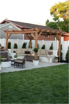 The wooden pergola is a good solution to add beauty to your garden. If you are not ready to spend thousands of dollars for building a cozy pergola then you may devise new strategies of trying out something different so that you can re Backyard Patio Designs, Small Backyard Landscaping, Backyard Pergola, Pergola Designs, Pergola Plans, Pergola Kits, Pergola Ideas, Backyard Ideas, Landscaping Ideas