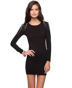 Amazing padded shoulders with chains bodycon dress from Forever21 for $17.80