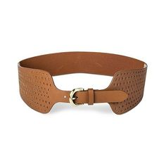 Women's  Perforated Belt with Stretch Back (£8.11) ❤ liked on Polyvore featuring accessories, belts, brown, linea pelle, stretchy belts, sash belt, stretch belt and brown stretch belt