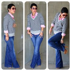 mimi g. >>> Loving the chevron-striped sweater on top of the checkered shirt. Nice casual look.