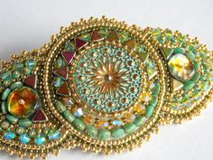 Your place to buy and sell all things handmade Seed Bead Bracelets, Seed Bead Jewelry, Hair Jewelry, Bridal Jewelry, Seed Beads, Beaded Jewelry, Embroidery Bracelets, Beaded Embroidery, Gold Hair Clips