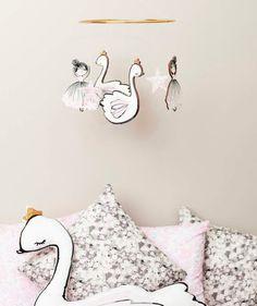 Cute girls nursery swan mobile from Little Cloud