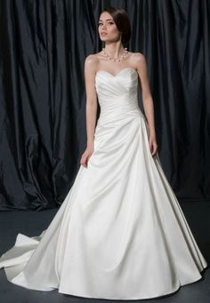 A-line Sweetheart Surplice Bodice Satin Wedding Dress-wa0002, $250.95