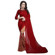 b7eaf3632 Stylish and trendy HITESH ENTERPRISE Printed Fashion Georgette Red Saree  for Women at the lowest price .