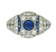 Anillo art decó con brillantes y zafiros - Art deco ring with brilliant cut diamonds and sapphires