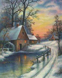 Christmas Landscape Vintage Cards for Xmas and Holidays, Vintage Landscape… Winter Sunset, Winter Scenery, Christmas Landscape, Winter Landscape, Winter Painting, Winter Art, Christmas Scenes, Christmas Art, Christmas Holidays