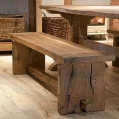 reclaimed oak monastery dining bench by mobius living | notonthehighstreet.com