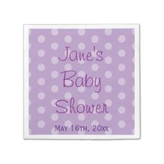Purple Polka Dot Baby Shower Paper Napkin