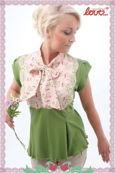 "Schluppenbluse ""Lora"" little bird, apple green from mydearlove® - shop by DaWanda.com"