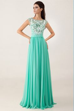 2014 Bateau Neckline Beaded Bodice Open Back A Line Floor Length Chiffon Prom Dress