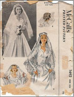 McCall's #1693 - Sewing Pattern - Bridal Cap and Veils - Envelope shows major wear but pattern pieces are intact.