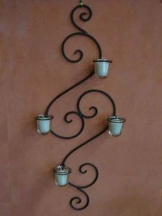 wrought iron wall candle holder