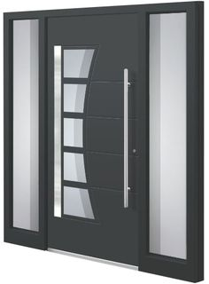 A modern house door should not only look good and blend in perfectly with the architecture of the house, but should also be optimally equipped for the daily demands and outside influences. Modern Entrance Door, Modern Exterior Doors, Entrance Doors, Front Door Design, Front Door Colors, Gate Design, Aluminium Front Door, Grill Design, House Doors