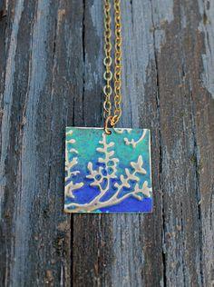 NEW! Vintaj Necklace Flowers Blue Green Brass by Eleven11designs, $20.00