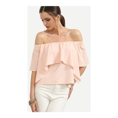 SheIn(sheinside) Pink Off The Shoulder Ruffle Blouse ($11) ❤ liked on Polyvore featuring tops, blouses, pink, off the shoulder ruffle blouse, pink blouse, pink ruffle blouse, collar blouse and flutter sleeve blouse