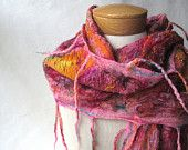 Nuno felted scarf in cranberry, teal and green