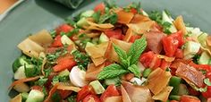 fatoush large Salsa, Recipies, Food And Drink, Vegetarian, Cooking, Ethnic Recipes, Butter, Salads, Recipes