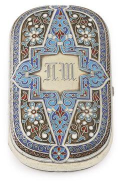 A Russian silver-gilt and cloisonné enamel cigarette case, Khlebnikov, Moscow, circa 1890