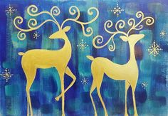 Whimsical Reindeer Acrylic Painting Tutorial Free on #YouTube by #angelafineart