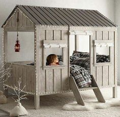 That's would be awesome in a playroom... The bed could be for sleepovers and the house could be for play dates