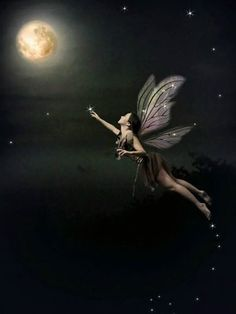 Moon enchanted Faery...oh, what a lovely fairy! I want to reach for the moon with her.