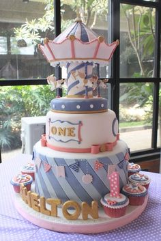 Amazing cake at a Carousel Party #carousel #partycake