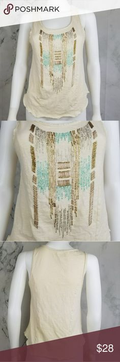 Free People beaded tank top Super cute tank top in great condition! Very little beads missing. Free People Tops Tank Tops