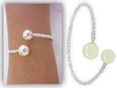 Pulseira Dior Inspired folheada a prata c/ pérolas sintéticas-Clique para maiores detalhes