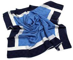 Vintage Marja Kurki blue and white silk scarf SISU