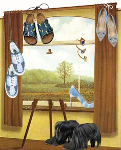 Magritte and shoes by Opening Ceremony, Birkenstock, Manolo, Schiaparelly illustration by @dariahyzha