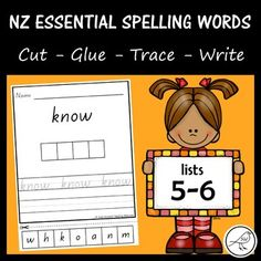 New Zealand Essential Spelling Words – Lists – Cut, Glue, Trace & Write Activity Sheets, Activity Centers, Literacy Centers, Spelling And Handwriting, Spelling Words, Classroom Environment, A4 Size, School Resources, Primary School