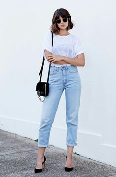 Semi transparent white tee with ligth jeans and black heels,   Shop similar style on siizu.com
