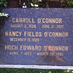 Grave Marker- Carroll O'Connor (Westwood Memorial Park) resting place next to comedian Jack Lemmon.-- From All in the Family, Archie's Place and in The Heat of the Night. Cemetery Monuments, Cemetery Headstones, Old Cemeteries, Cemetery Art, Graveyards, Carroll O'connor, Archie Bunker, Famous Tombstones, Jack Lemmon
