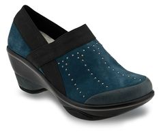"""http://www.jambu.com/item/cali-studs/wj13cst/460  Cali Studs Cali Studs is an edgy take on the 2 1/2"""" sporty wedge fan favorite. This year-round, easy to slip-on staple will carry you throughout all of your walks in life. In addition to the metallic piping and heel detail we have added on-trend studding to give this classic a touch more """"wow"""" factor!"""