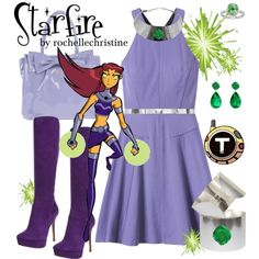 """Starfire Outfit with Dress"" by rochellechristine on Polyvore #cosplay #teen #titans"
