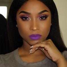trendy makeup looks for black women brown skin eyeshadows Purple Eye Makeup, Black Girl Makeup, Dark Skin Makeup, Girls Makeup, Face Makeup, Makeup Case, Makeup Black Women, Purple Makeup Looks, Makeup Geek