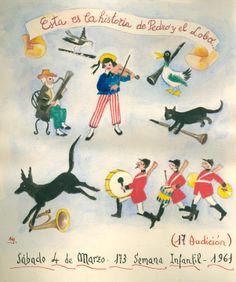 """Cartell il·lustrat per la bibliotecària Natàlia Hernàndez, per informar de l'hora del conte destinada al dia 4 de març de 1961 en la biblioteca Pare Miquel d'Esplugues. El títol de la narració fou: """"La historia de Pedro y el lobo""""."""