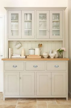 This beautiful glazed dresser is from the deVOL Real Shaker Kitchen Range. All o… This beautiful glazed dresser is from the deVOL Real Shaker Kitchen Range. All of deVOLs furniture is hand-made and hand-painted here in Leicester in the UK. Painting Kitchen Cabinets, Kitchen Paint, New Kitchen, Kitchen Dining, Kitchen Decor, Dining Room Hutch, Kitchen Hutch Ikea, Shaker Kitchen Cabinets, Painted Kitchen Cupboards