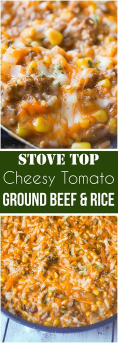 Easy dinner recipe with ground beef. This Cheesy Tomato Ground Beef and Rice is an easy stove top dinner recipe packed with flavour. This ground beef dish is made with cream of tomato soup, canned corn, instant rice and loaded with cheddar cheese. Ground Beef Rice, Ground Beef Dishes, Dinner With Ground Beef, Casseroles With Ground Beef, Ground Beef Soups, Ground Beef And Rice Recipes For Dinner, Cooking With Ground Beef, Ground Beef Recipes Skillet, Recipies With Ground Beef