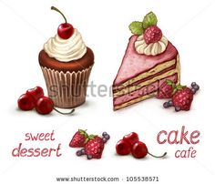 Set of cake illustrations by Sundra, via ShutterStock