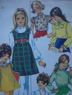 vintage 1969 simplicity childs JUMPER blouse sewing pattern SIZE 6 low round neckline RETRO mod.