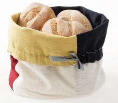 Happy Kitchen Bread Basket, linen/cotton