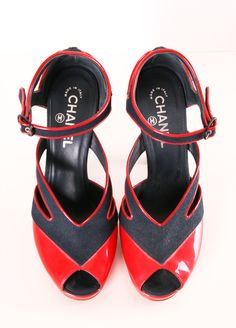 CHANEL HEELS // oh! What fun! Love the diagonal pattern and red piping #wearabledesign