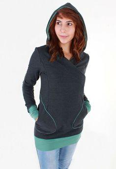Breastfeeding friendly hoodie?? Yes please   Pregnacy & breastfeeding sweater Bobby in anthracite by Milchshake